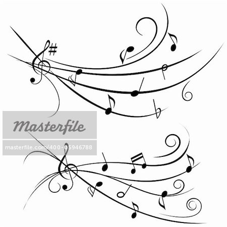 Various music notes on ornamental staff