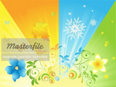four seasons in the sun against the background Stock Photo - Budget Royalty-Free, Image code: 400-05946868