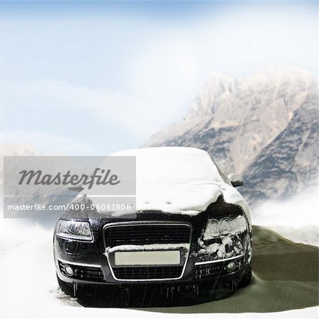 car in the winter on the road Stock Photo - Budget Royalty-Free, Image code: 400-06061808