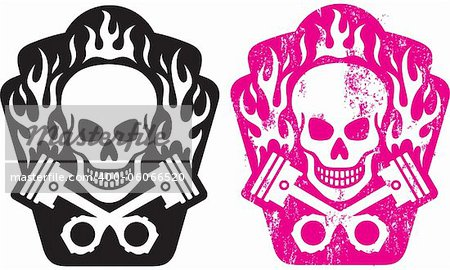 Vector illustration of skull and crossed pistons with flames. Includes clean and grunge versions. Easy to edit colors and shapes. Stock Photo - Budget Royalty-Free, Image code: 400-06066520