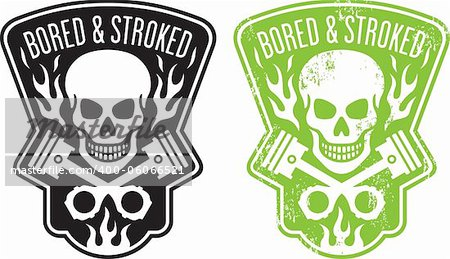 "Vector illustration of skull and crossed pistons with flames and the phrase ""Bored and Stroked"". Includes clean and grunge versions. Easy to edit colors and shapes. Stock Photo - Budget Royalty-Free, Image code: 400-06066521"
