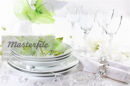 Luxury place setting for wedding in white and green tone Stock Photo - Budget Royalty-Free, Image code: 400-06066806