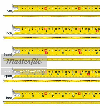tape measure in cm, cm and inch, cm and hand, cm and span, cm and foot - vector illustration Stock Photo - Budget Royalty-Free, Image code: 400-06067403