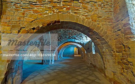 Vaulted Dungeon Royal Monastery in Aragon, Spain Stock Photo - Budget Royalty-Free, Image code: 400-06069034