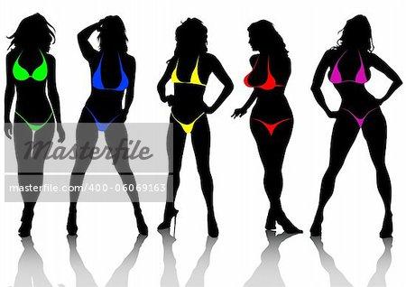 Vector drawing slim and beautiful girls in bikini