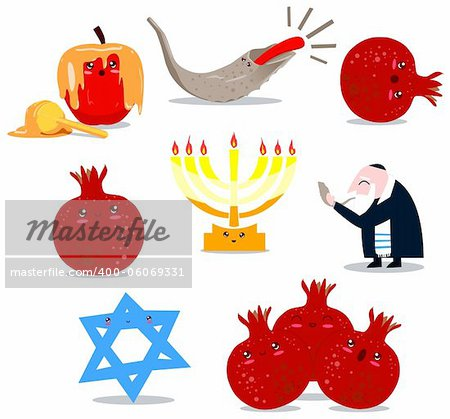 A pack of Vector illustrations of famous Jewish symbols for the Jewish Holidays New Year and Yom Kipur. Stock Photo - Budget Royalty-Free, Image code: 400-06069331