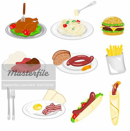 Illustration of different kind of food with white background Stock Photo - Budget Royalty-Free, Image code: 400-06071090