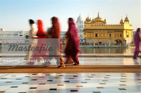 Group of Sikh pilgrims walking by the holy pool,Golden Temple,Amritsar,Punjab state,India,Asia Stock Photo - Budget Royalty-Free, Image code: 400-06071678
