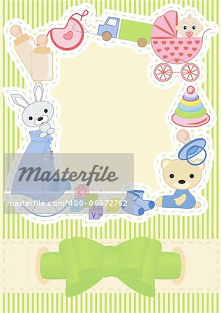 Children postcard with a bow vector illustration Stock Photo - Budget Royalty-Free, Image code: 400-06072762