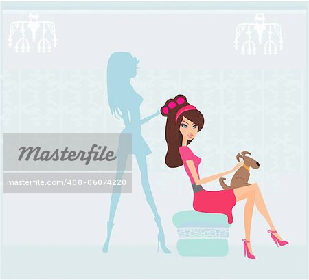 Vector illustration of the beautiful woman in hairdressing salon Stock Photo - Budget Royalty-Free, Image code: 400-06074220