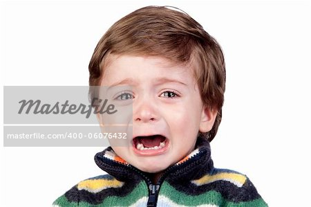 Beautiful baby crying isolated on white background Stock Photo - Budget Royalty-Free, Image code: 400-06076432