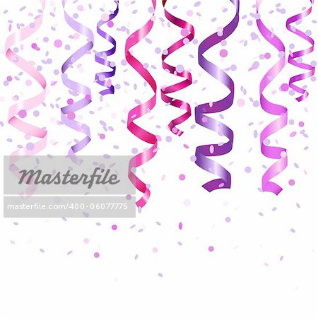 Lilac Curling Stream, Isolated On White Background, Vector Illustration