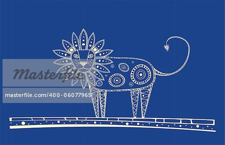 Illustration of blue lion, produced in ethno style with the blue colour Stock Photo - Budget Royalty-Free, Image code: 400-06077965
