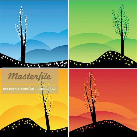 Illustration of square images of four seasons. Also available as a Vector in Adobe illustrator EPS 8 format, compressed in a zip file. Stock Photo - Budget Royalty-Free, Image code: 400-06079337