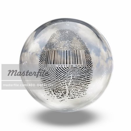 Barcode Fingerprint Enclosed in Glass Stock Photo - Budget Royalty-Free, Image code: 400-06081151