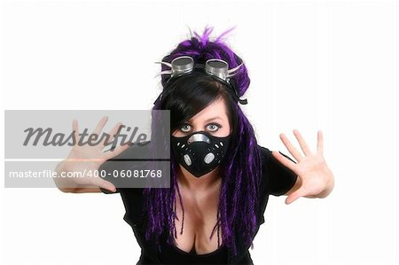 Gothic Girl Studio Shot on White Background Stock Photo - Budget Royalty-Free, Image code: 400-06081768
