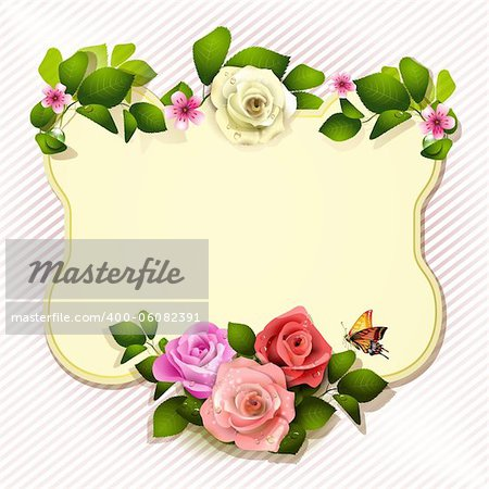 Mirror with roses and butterfly Stock Photo - Budget Royalty-Free, Image code: 400-06082391