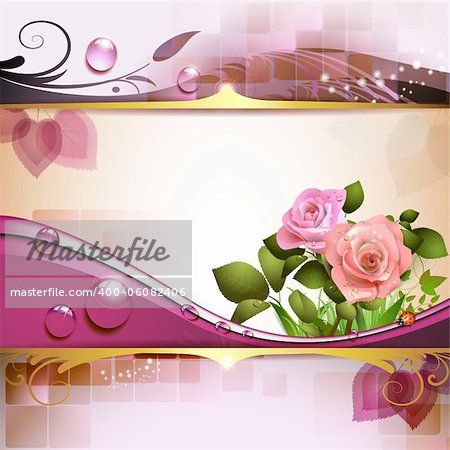 Background with roses and drops Stock Photo - Budget Royalty-Free, Image code: 400-06082406