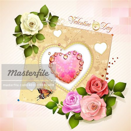 Valentine's day card. Decorated background with heart and roses Stock Photo - Budget Royalty-Free, Image code: 400-06082408