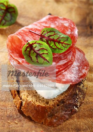 Canape with cream cheese, salami and herbs Stock Photo - Budget Royalty-Free, Image code: 400-06082980