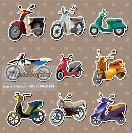 cartoon motorcycle stickers Stock Photo - Budget Royalty-Free, Image code: 400-06084194