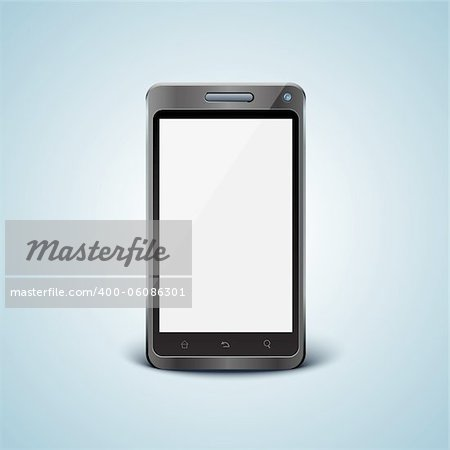 Vector cellphone in front view with blank screen Stock Photo - Budget Royalty-Free, Image code: 400-06086301