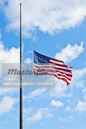 American flag on a blue sky during a windy day Stock Photo - Budget Royalty-Free, Image code: 400-06086537