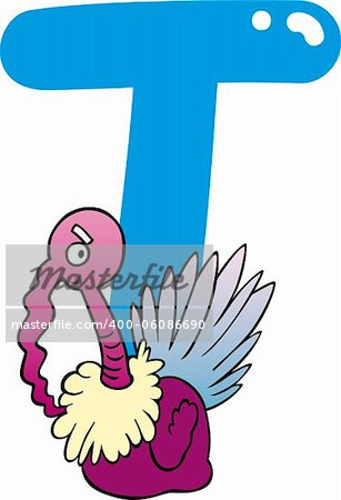 cartoon illustration of T letter for turkey Stock Photo - Budget Royalty-Free, Image code: 400-06086690