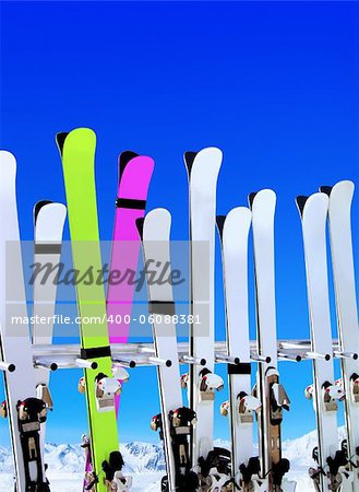 skis on snow covered place in winter with mountains in the distance Stock Photo - Budget Royalty-Free, Image code: 400-06088381