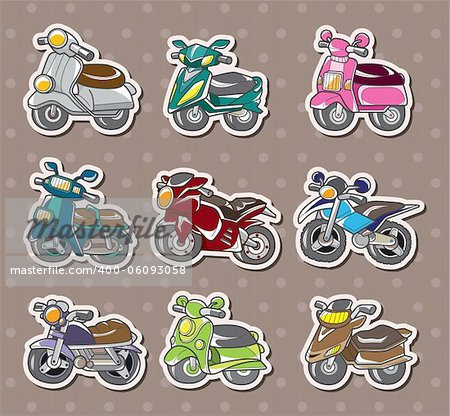 cartoon motorcycle stickers Stock Photo - Budget Royalty-Free, Image code: 400-06093058
