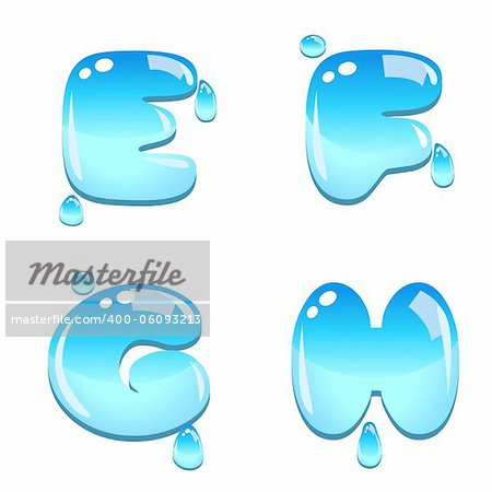 A set of water bead font type, letter E to H Stock Photo - Budget Royalty-Free, Image code: 400-06093213