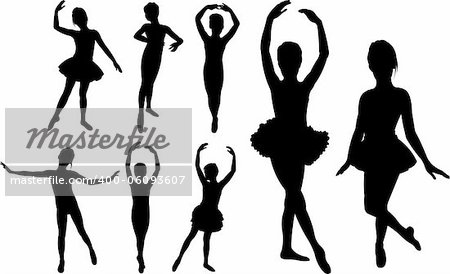 Set of ballet girls dancers silhouettes Stock Photo - Budget Royalty-Free, Image code: 400-06093607