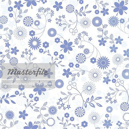 Flower abstract seamless vector background. Art  pattern.  Fabric texture. Floral vintage design. Pretty cute wallpaper. Romantic cartoon feminine filigree tile. Stock Photo - Budget Royalty-Free, Image code: 400-06096999