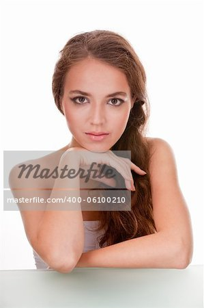 hi key beauty portrait of a young female face Stock Photo - Budget Royalty-Free, Image code: 400-06100210