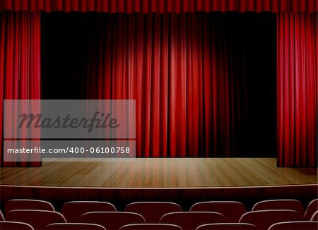 Empty stage with red curtain Stock Photo - Budget Royalty-Free, Image code: 400-06100758