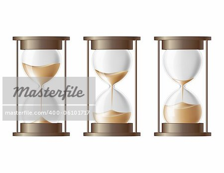 Sand falling in the hourglass in three different states Stock Photo - Budget Royalty-Free, Image code: 400-06101717