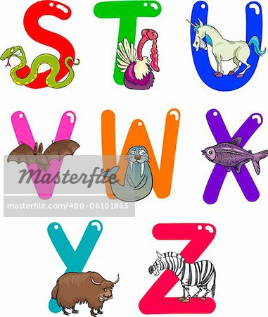 Cartoon Colorful Alphabet Set with Funny Animals Stock Photo - Budget Royalty-Free, Image code: 400-06101863