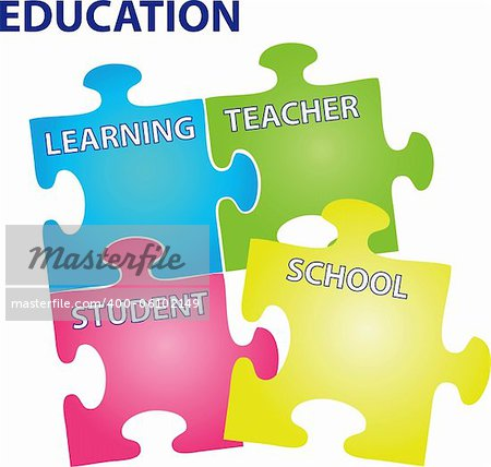 Vector illustration of puzzles with words on the topic of education. Stock Photo - Budget Royalty-Free, Image code: 400-06102149