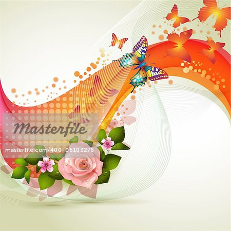 Colorful background with flowers Stock Photo - Budget Royalty-Free, Image code: 400-06103276