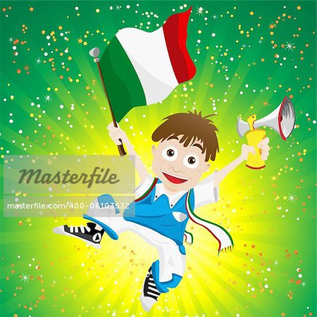 Vector - Italy Sport Fan with Flag and Horn Stock Photo - Budget Royalty-Free, Image code: 400-06103532