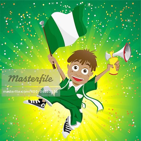Vector - Nigeria Sport Fan with Flag and Horn Stock Photo - Budget Royalty-Free, Image code: 400-06103536