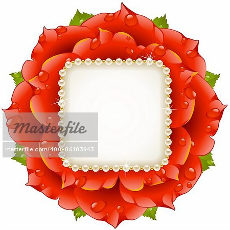 Vector floral background. Red rose wedding frame with pearl necklace.