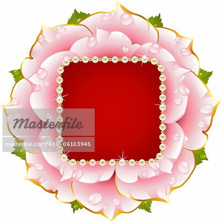 Vector floral background. Pink rose wedding frame with pearl necklace