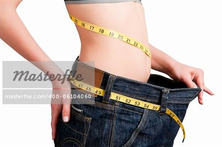 Woman seen how much weight she lost. Isolated background. Stock Photo - Budget Royalty-Free, Image code: 400-06104060