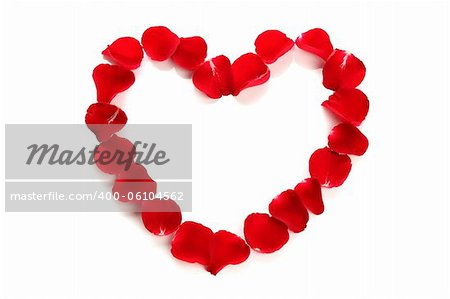Beautiful heart of red rose petals on white background Stock Photo - Budget Royalty-Free, Image code: 400-06104562