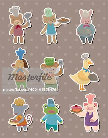 animal chef stickers Stock Photo - Budget Royalty-Free, Image code: 400-06105476