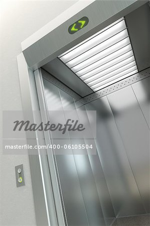 modern elevator with open doors Stock Photo - Budget Royalty-Free, Image code: 400-06105504