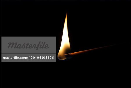 Burning match on black background Stock Photo - Budget Royalty-Free, Image code: 400-06105606
