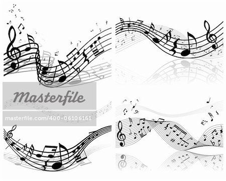 Vector musical notes staff background set for design use