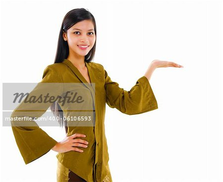 Mixed race Asian showing her empty palm on white background Stock Photo - Budget Royalty-Free, Image code: 400-06106593